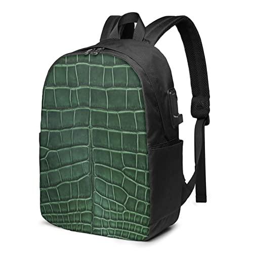 Zaino in pelle di coccodrillo, zaino da viaggio per laptop con porta di ricarica USB per uomini e donne da 17 pollici, Nero , Taglia unica,