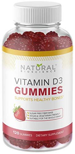 Sugar Free Vitamin D3 Gummies - Family Size 120 Gummies, Vitamin D for Kids & Adults, No Sugar, No Glucose, No Corn Syrup, Kosher, Vegan, Gluten-Free, Gelatin-Free, Non-GMO, Natural Strawberry Flavor