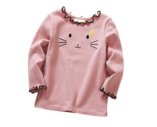 DEBAIJIA Enfant Fille sous-Pull en Coton à Manches Longues avec Broderie Mignonne, T-Shirt Soyeux...