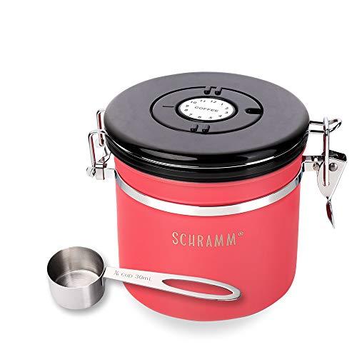 Schramm® Kaffeedose 1200 ml in 10 Farben mit Dosierlöffel Höhe: 12cm Kaffeedosen Kaffeebehälter aus Edelstahl, Farbe:Rot
