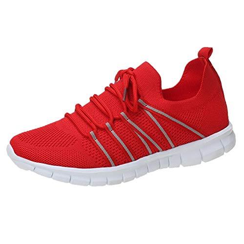 Sportschuhe Damen Sommer Frauen Sportschuhe Einfach Einfarbige Sneaker Anti-Rutsch Slip-on Turnschuhe Lässige Stilvoller Trail Running Laufschuhe Atmungsaktiv Leichtgewichts Outdoorschuhe