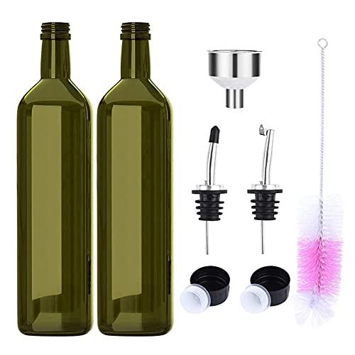 Botellas de aceite de oliva de cristal oscuro (500 ml). Pack de 2 aceiteras/vinagreras con tapones dosificadores sin goteo, embudo, y cepillo de limpieza, para cocina
