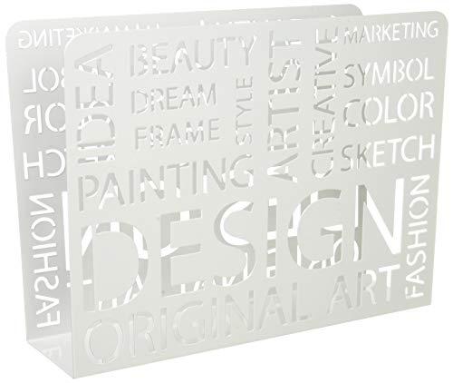 Haku Möbel revistero - almacenamiento de periódicos en metal blanco, ancho 35 cm