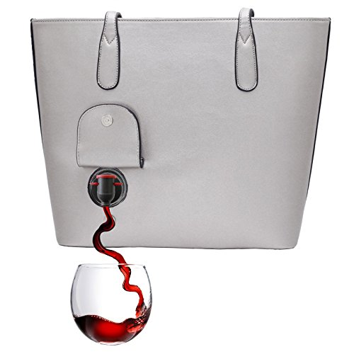 PortoVino WeinHandtasche (Grau) - Modische Henkeltasche mit verstecktem, isoliertem Fach - Enthält 2 Flaschen Wein in einem herausnehmbaren Beutel!
