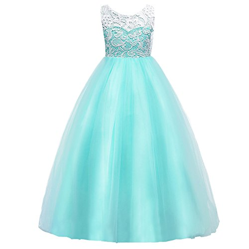 HUANQIUE Girls Lace Wedding Party Dress Bridesmaid Flower Girl Maxi Dresses Aqua 5-6 Years