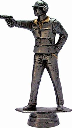 RaRu Schützen-Pokal (Pistole) auf weißem Marmorsockel montiert mit Wunschgravur (34478)