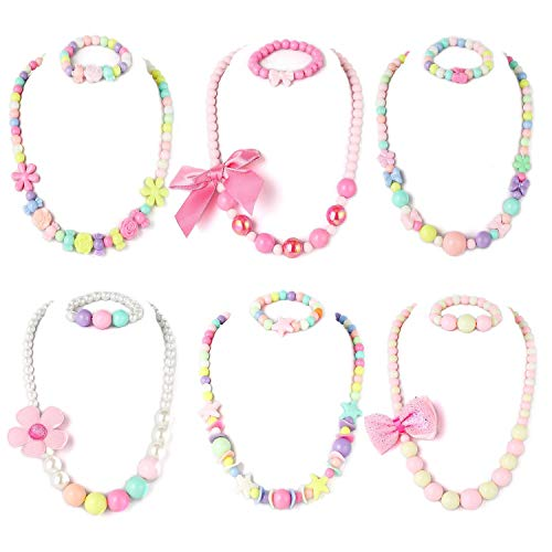 Powerking Girls Necklace and Bracelet,6 Set Little Girls and Kids Beaded Jewelry Necklace and Bracelet Set with Heart Pendant for Dress Up Pretend Play Party Favor