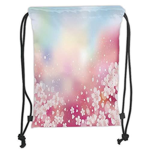 Fevthmii Drawstring Backpacks Bags,Pastel,Japanese Nature Sakura Tree Cherry Blossoms Romantic Hazy Dreamy Cheerful Decorative,Light Pink Light Blue Soft Satin,5 Liter Capacity,Adjustable S