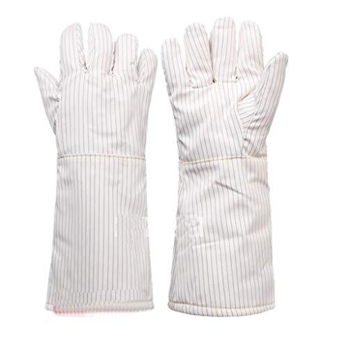 LICCC Handschuhe 300 Grad Hochtemperaturhandschuhe isolierte antistatische Handschuhe Reinraum Spezial staubfreie Handschuhe, Keine Späne 26 / 40cm (Color : White40cm)