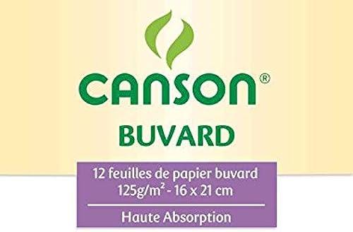 CANSON Lot de 20 Pochettes 12 Feuilles Buvard 125g 160 x 210 m Blanc