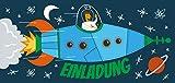 CardWheels 12 Einladungskarten Kindergeburtstag Rakete + 13 Sticker Gratis - Jungen Mädchen   Mitgebsel Geburtstag Flugzeug Astronaut Mottoparty
