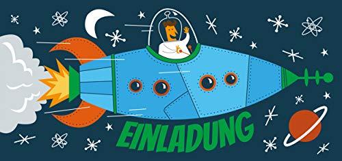 CardWheels 12 Einladungskarten Kindergeburtstag Rakete + 13 Sticker Gratis - Jungen Mädchen | Mitgebsel Geburtstag Flugzeug Astronaut Mottoparty