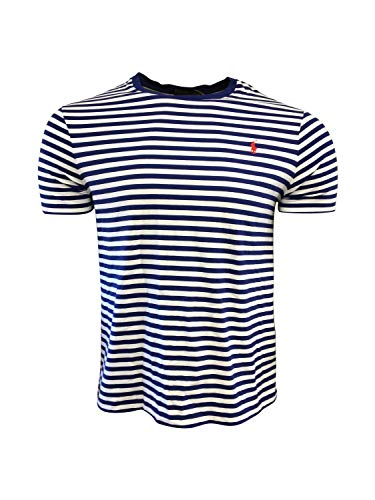 Polo Ralph Lauren - Camiseta a rayas para hombre, Royal Stripes Red Pony, Large