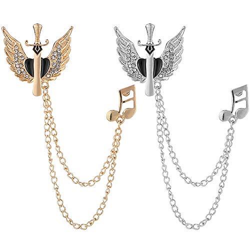 Ceqiny Broche de cristal para hombre 2 unidades aleación diseño de notas musicales broche de oro y plata para bufanda sombreros bufanda pañuelos corbata traje esmoquin decoración de fiesta para mujer
