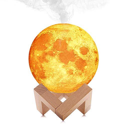 Humidificador de Luz de Luna 3D, Luz de Noche de Luna LED Lámpara de Luna Llena con Función de Humidificador Cool Mist
