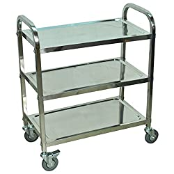 Heavy duty Stainless steel cart-Stainless Steel Cart 3 Shelf Two Rounded Handles