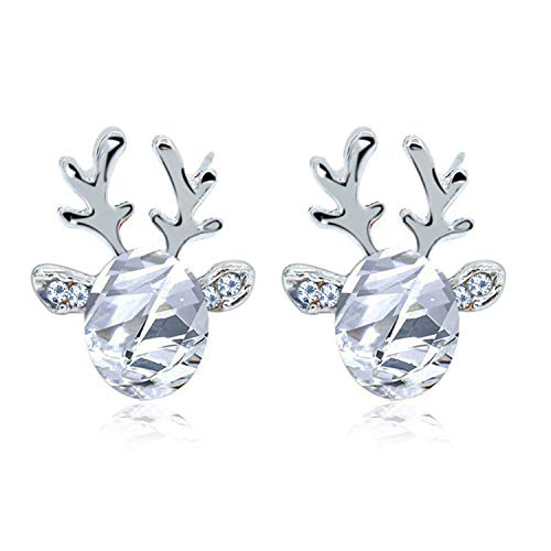 Reindeer Faceted Crystal Christmas Stud Earrings with Gift Box Womens Girls Jewellery (1 Sparkly Clear Crystal)