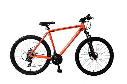 Ammaco. Osprey V1 27.5' Wheel Front Suspension Mountain Bike 21 Speed Mechanical Disc Brakes 19' Frame Orange/Black
