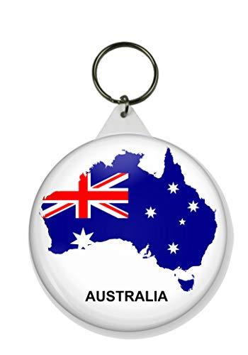 Gifts & Gadgets Co. Schlüsselanhänger Australische Flagge auf der Karte von Australien, rund, 58 mm Durchmesser