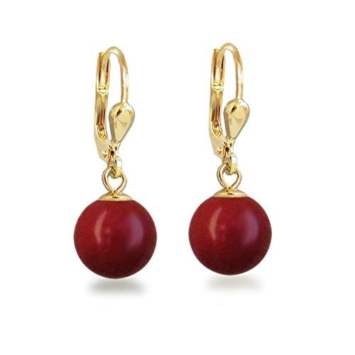 Schöner-SD Gold-Doublé Ohrhänger mit Perlen von Swarovski® Ohrringe vergoldet koralle rot