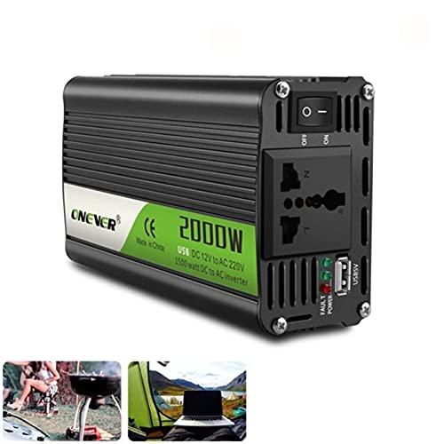 Inversor Inversor 12V 220V 2000W Inversor de energía DC A CA 12V a 220V Convertidor de voltaje de automóvil con cargo de coche USB Inversores de corriente