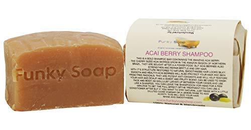 Funky Soap Baya de Acai Barra Champú, 100% Natural Hecho a Mano, 1 Barra de 120g