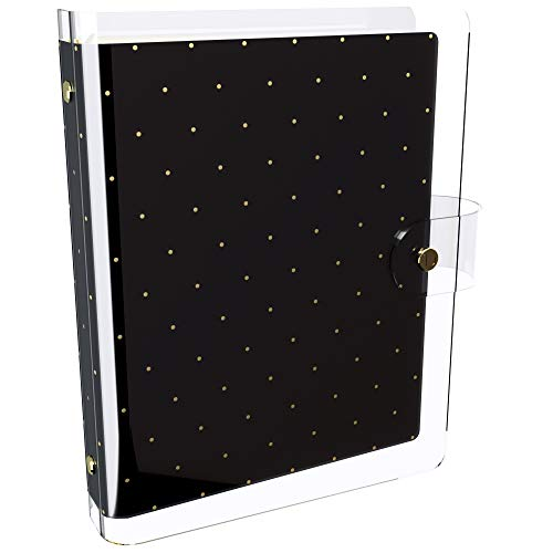 Discagenda Clarity Transparent Nested Clear PVC Planner Personal Organizer (Black with Gold Polka Dots, Ringbound A5 Size)