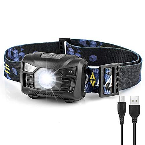 Binwo USB Rechargeable LED Headlamp-High Lumen, Ultra Lightweight, 6 Modes with Adjustable Headband, Waterproof, Perfect for Running, Camping, Hiking, Walking, Fishing, Reading