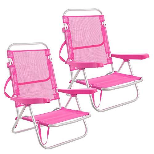 LOLAhome Pack de 2 sillas de Playa Cama de 4 Posiciones de Aluminio y textileno (Rosa)