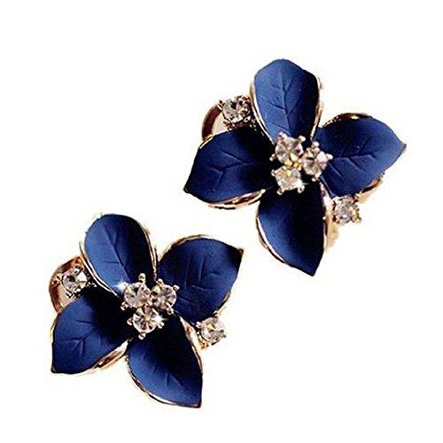 Hosaire - Pendientes de mujer con aplicaciones de estrás, diseño elegante en forma de camelia, color azul oscuro