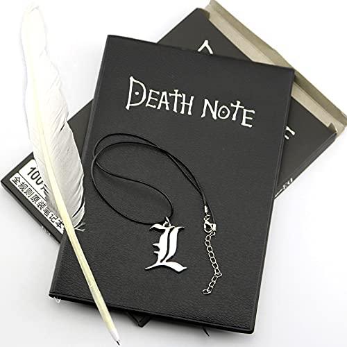 miaoyu Anime Death Note - Cuaderno de notas coleccionables de piel, cuaderno de notas de la muerte para la escuela, gran temática de anime (color: libro con collar 1)