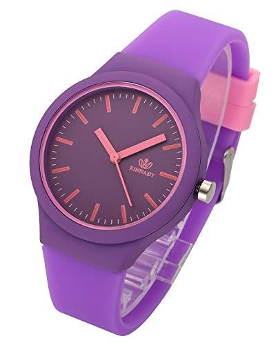 JSDDE Uhren Damenuhr Armanduhr Candy Farbe Silikonband Sportuhr Lässig Analog Quarzuhr Watchs für Frauen Mädchen Jungen (Lila)