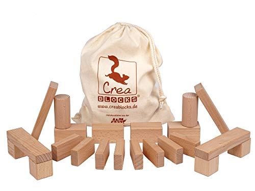 CreaBLOCKS Holzbausteine Baby-Pack 22 unbehandelte Bauklötze für Kleinkinder ab 6 Monaten (im Baumwollbeutel) Made in Germany