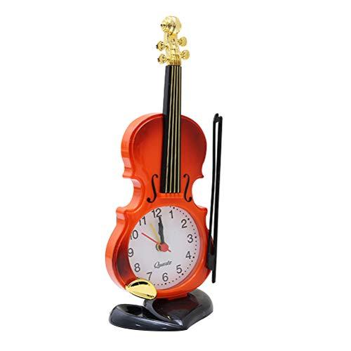 VORCOOL Simulación Creativa Forma de violín Despertadores Instrumentos Musicales Modelado Reloj de Escritorio Relojes Digitales Decoración de Oficina en casa (Rojo marrón)