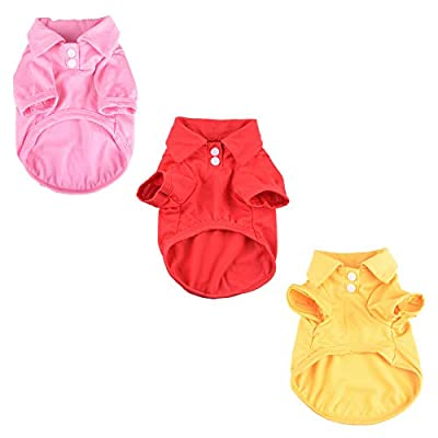 N\A 3 Pieces Dog Polo Shirts Vest T-Shirts Pet Dog Clothing for Small or Medium Dog Pet
