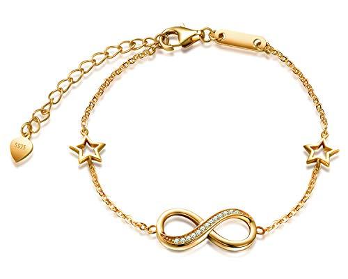 Pulsera Mujer MicLee Pulsera de Plata 925 Estilo Simbolo del Infinito y Estrellas con Circonitas,Idea Regalo para Mujeres Chicas(Color de Oro)