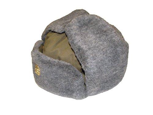 Générique Authentique armée tchèque Gris d'hiver en Fourrure Olive Trapper Ouchanka Chapeau avec Badge Articles - Vert -