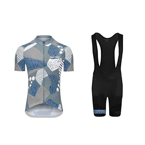 Uglyfrog Radtrikot Damen Kurzarm Fahrradbekleidung Set Outdoor Sports Radfahren Jersey + Radfahren Latzhose Shorts im Sommer