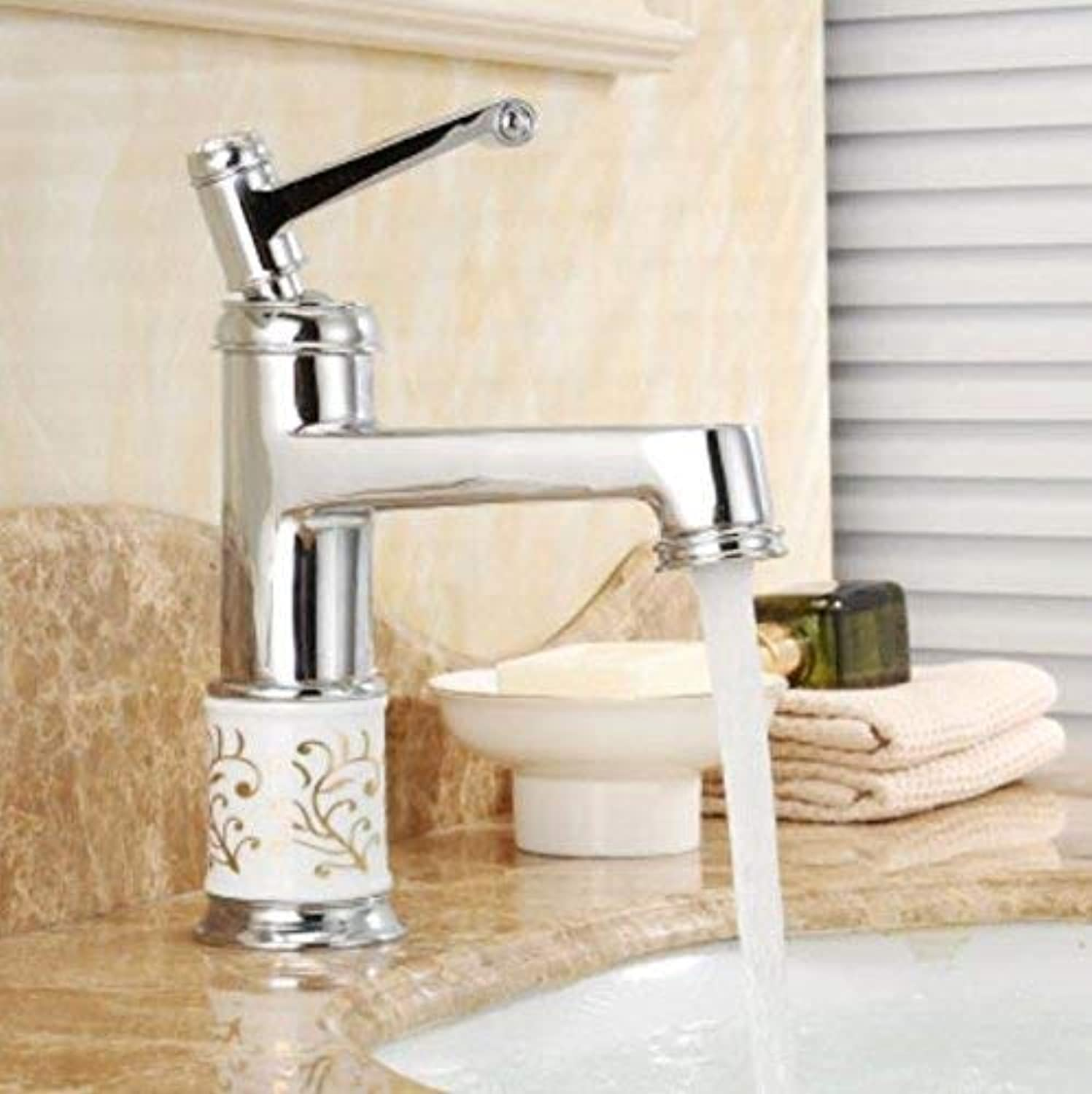 European Style Chrome Plated Single Hole Hot and Cold All Copper Basin Basin Faucet Antique Wash Basin Faucet European Basin Upper Basin Washbasin Faucet Ceramic Disc Spool,A ( color   A , Size   - )