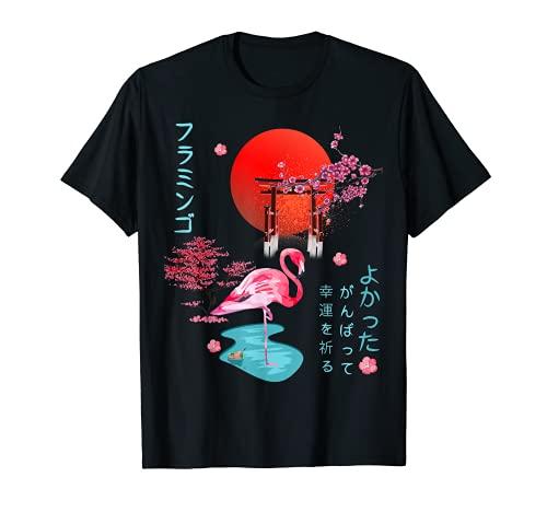 Flamingo Japonés Anime Creativo Gráfico Otaku Estética Camiseta