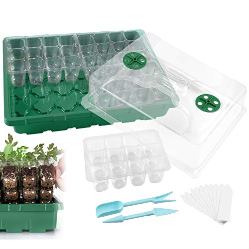 3-Pack 144 Cells Strong Seed Starter Trays with Humidity Dome and Base Plant Growing Germination kit Clone Tray for Microgreens, Soil Blocks, Rockwool Cubes,Wheatgrass, Hydroponic