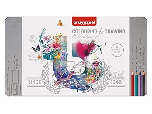 Bruynzeel Celebration Étui en métal 70 Crayons de Couleur Aquarelle