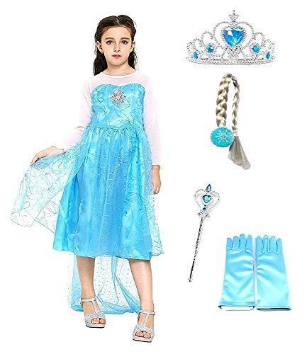Disfraz de Elsa con Corona - Varita - Guantes - Trenza - Niña - Frozen - Color azul - Disfraz - Carnaval - Halloween - Princesa - Talla 150 - 7 - 8 años - Idea de regalo original