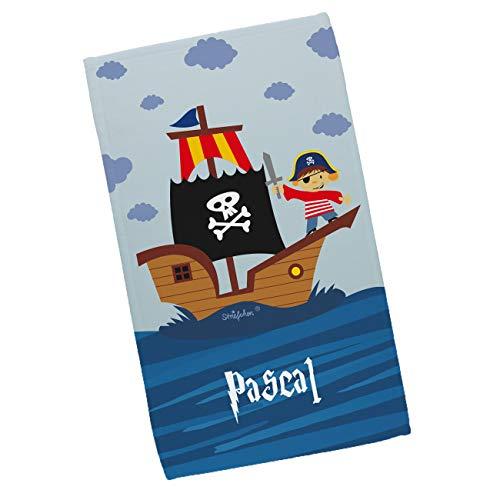 Striefchen® Kinderhandtuch für Jungen mit Wunschnamen und coolem Piraten-Motiv 30 x 50 cm