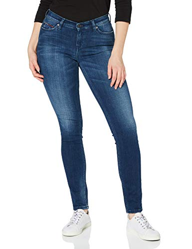 Tommy Jeans Femma Mid Rise Nora Jeans, Bleu (Chicago Dark Blue Stretch 911), W29/L32