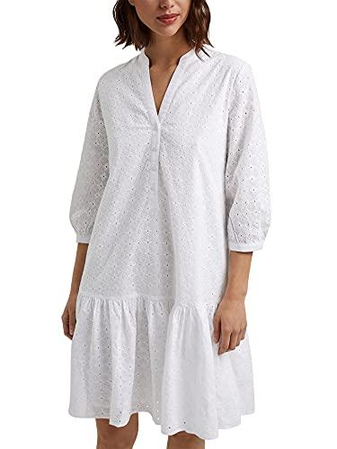 ESPRIT Kleid mit Lochstickerei, Organic Cotton