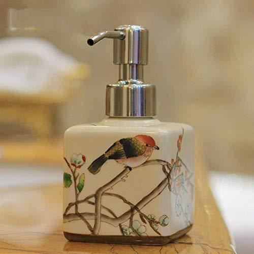 ZLXLX lotion fles vloeibare zeepbak, origineel design retro Oosterse desinfectiefles voor handmatig schilderen vogel op boom beige keramiek vierkant vintage mini zeepdispenser, voor keuken en badkamer