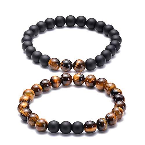 MILASIA 2 stks Armbanden Beaded Armbanden Lederen Armbanden voor Mannen Edelsteen Natuurlijke Steen Armband Set ManMens Dames Unisex