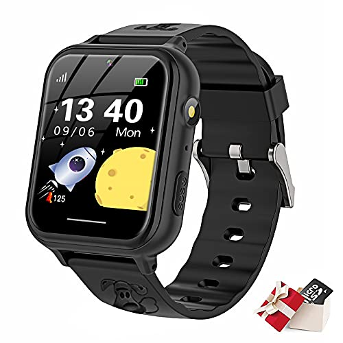 TORRYZA Kinder Smartwatch,Kind Uhr Telefon mit SOS Intelligente Touchscreen Spiel Kamera Voice Chat Wecker für Jungen Mädchen Student Geschenk(A2-Schwarz)