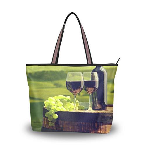 NaiiaN Bolsos de hombro con correa de peso ligero, monedero, bolsos de compras, botella de vino para mujeres, niñas, señoras, bolso de mano para estudiantes